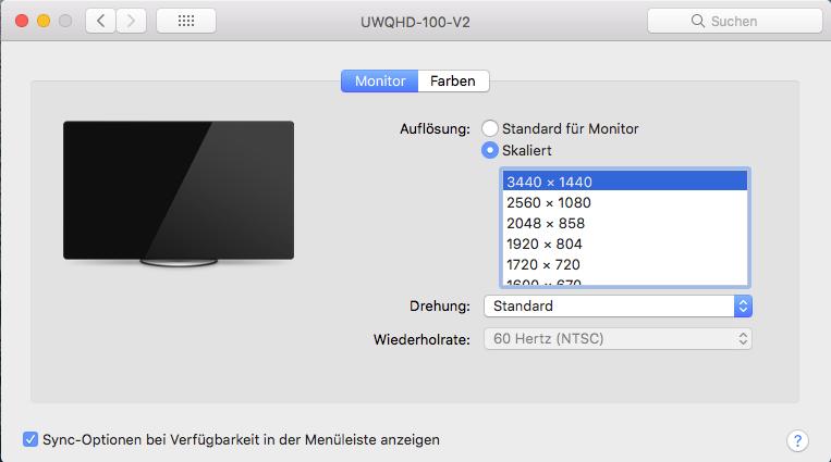 Monitor Einstellungen macOS